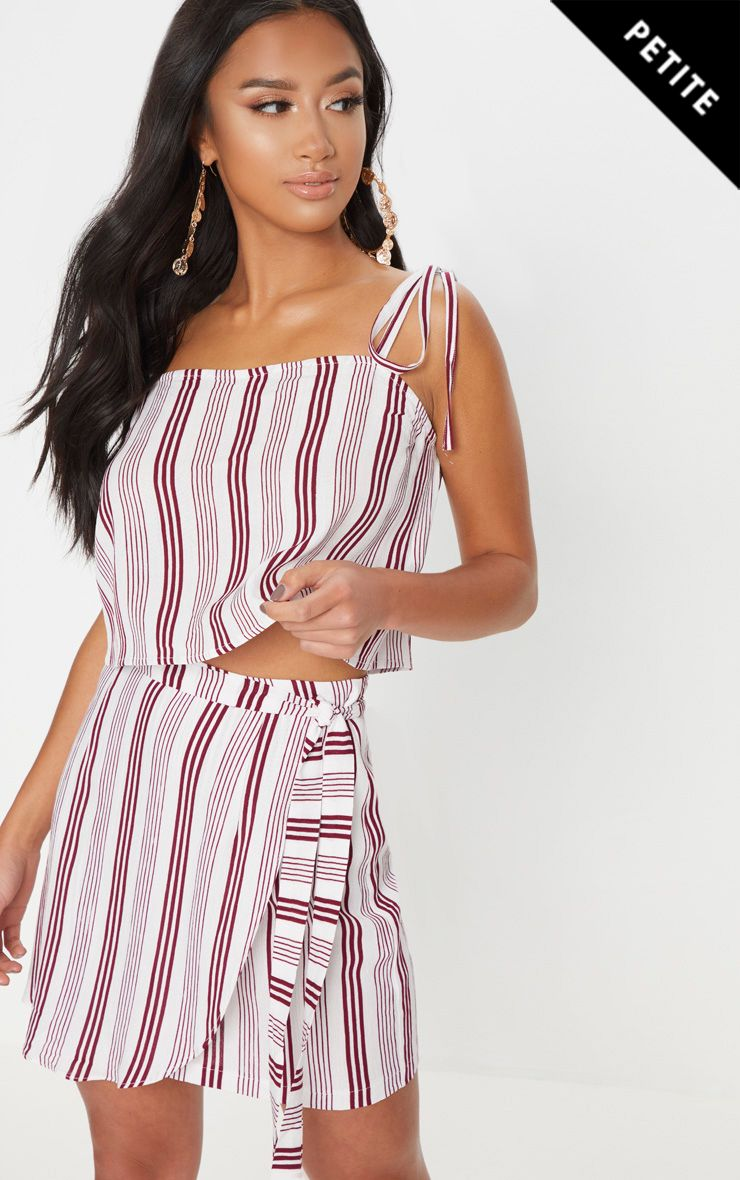 Petite White Cheesecloth Striped Mini Skirt