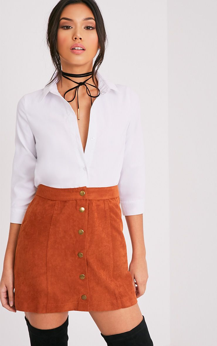 Carmelita Rust Suede Button Front Skirt