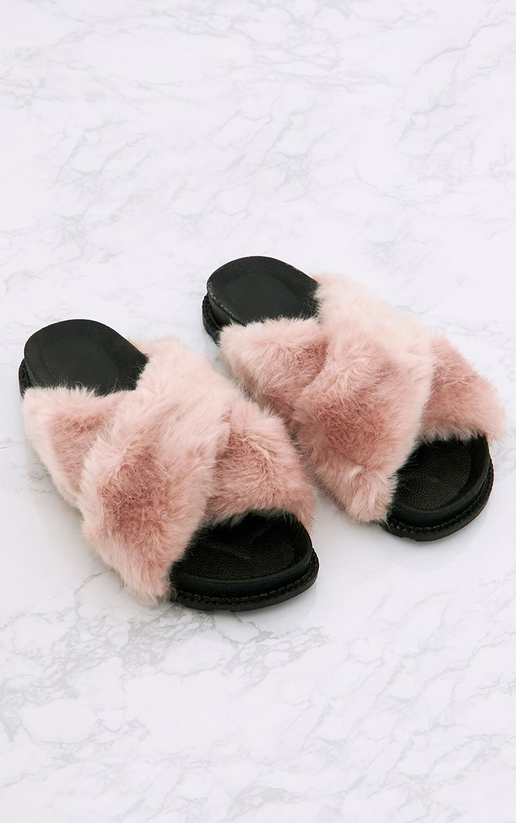 Blush Double Strap Fluffy Sliders