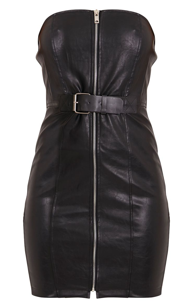 Bodycon black faux bandeau dress belted chain leather teens free