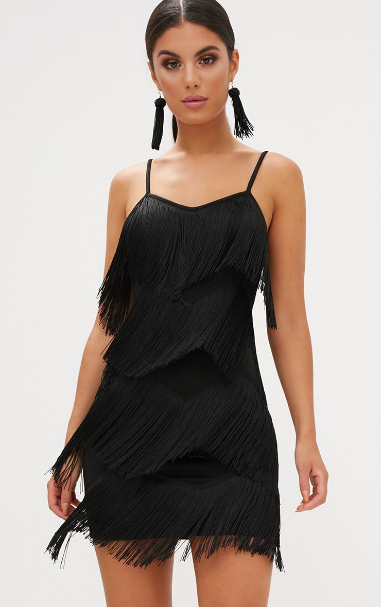 Black Tassel Layered Bodycon Dress
