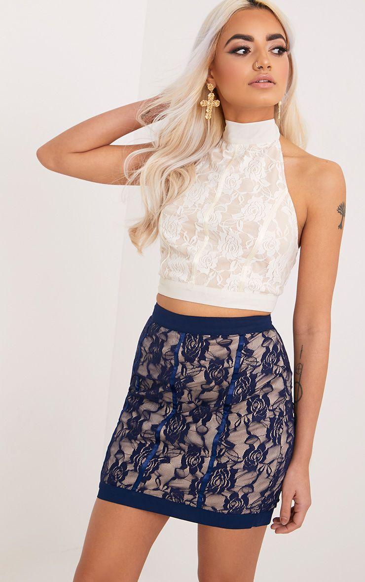 Zabrina Navy Lace Satin Seam Mini Skirt