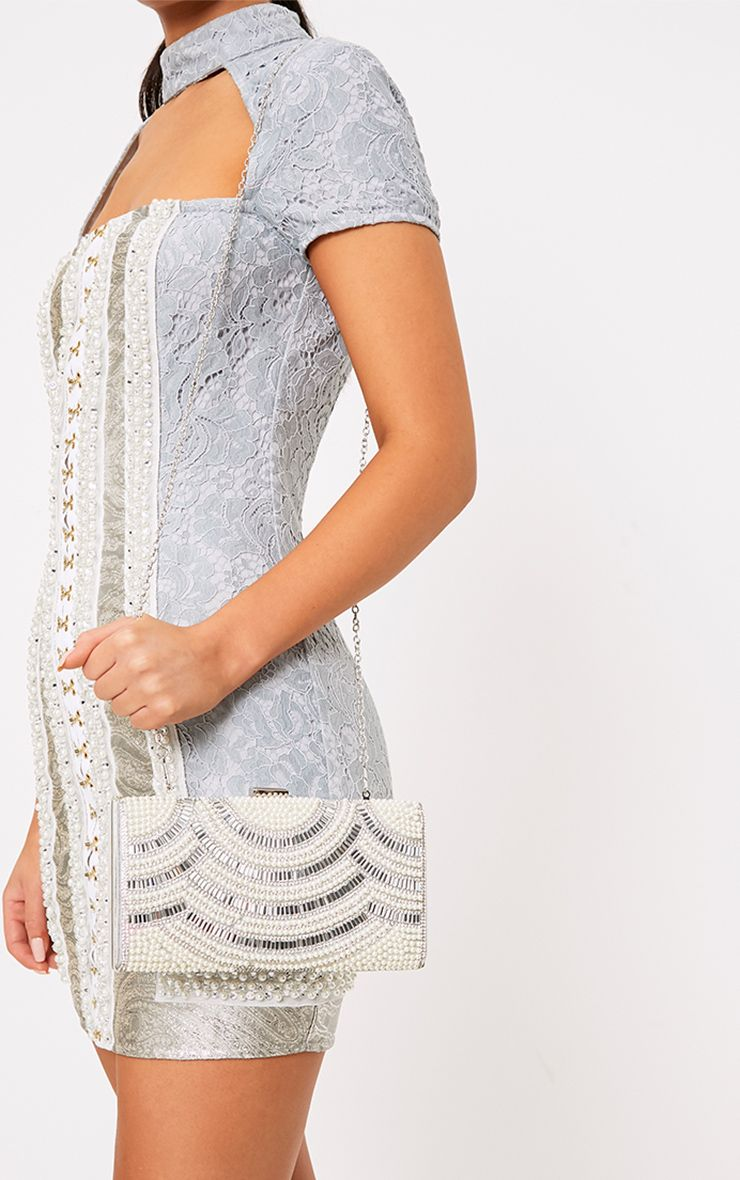 Bennie Silver Pearl Embellished Clutch Bag