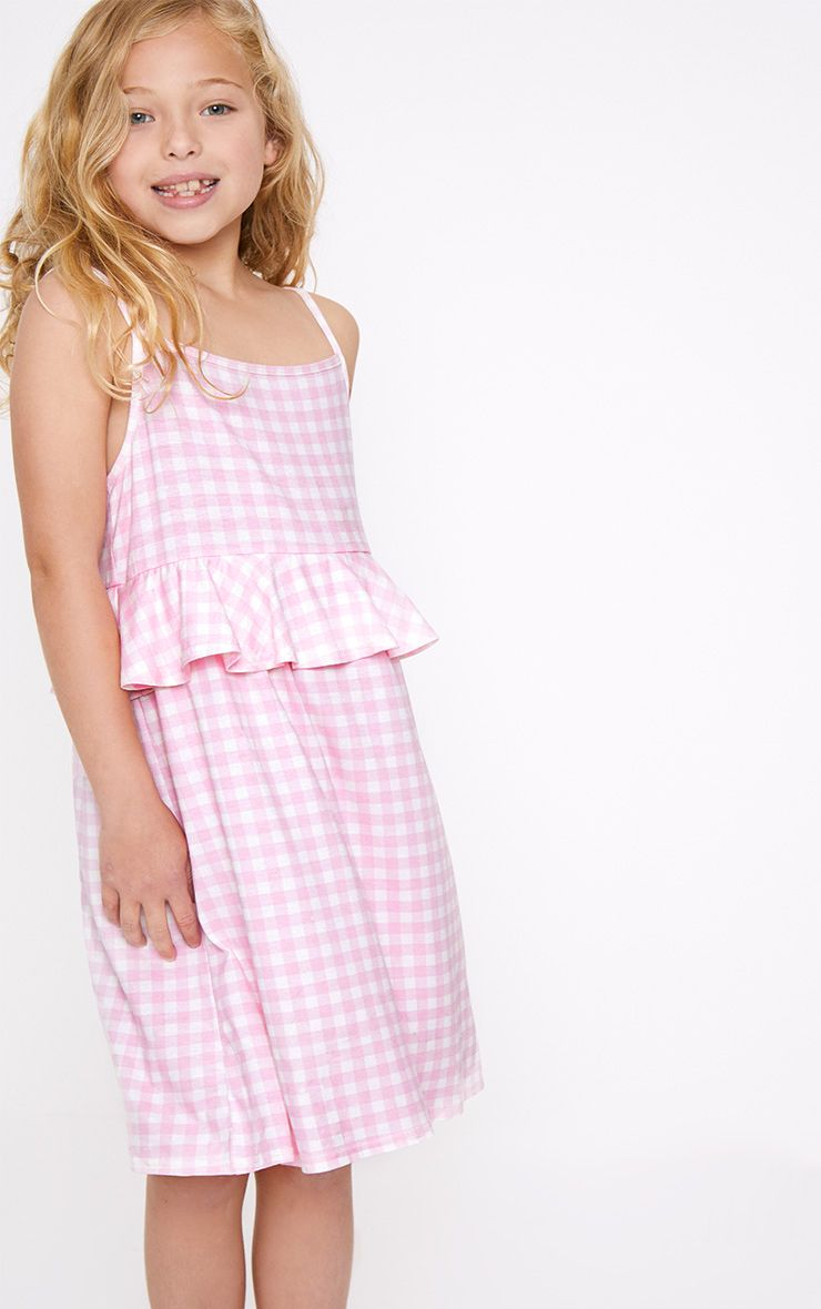 Frill Detail Gingham Pink Dress
