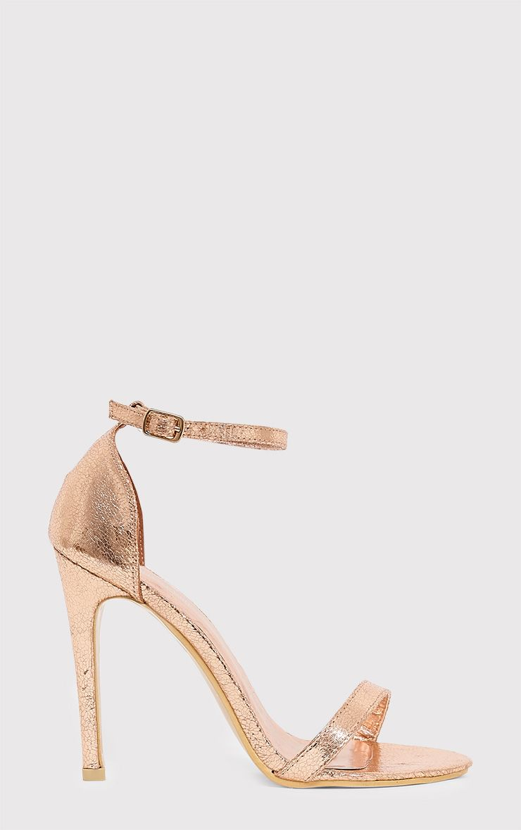 Clover Rose Gold Strap Heeled Sandals