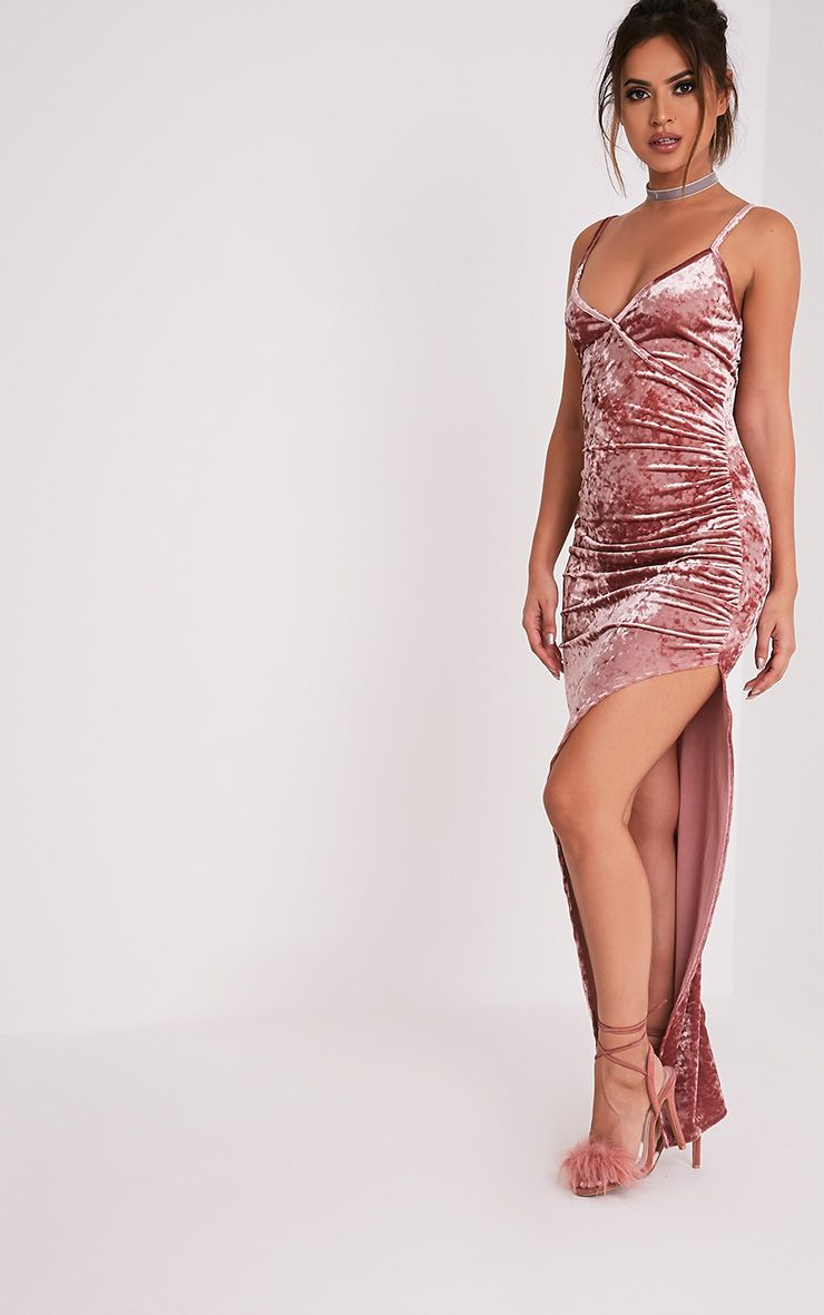 Sansia Pink Crushed Velvet Asymmetric Maxi Dress 4