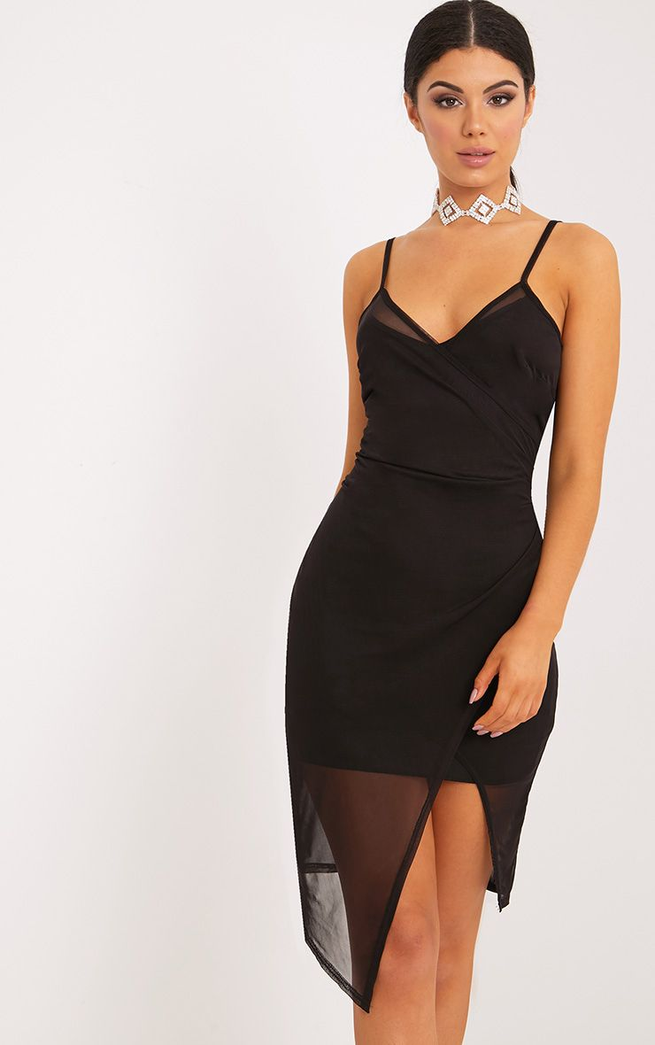Hazel Black Wrap Front Mesh Midi Dress 1