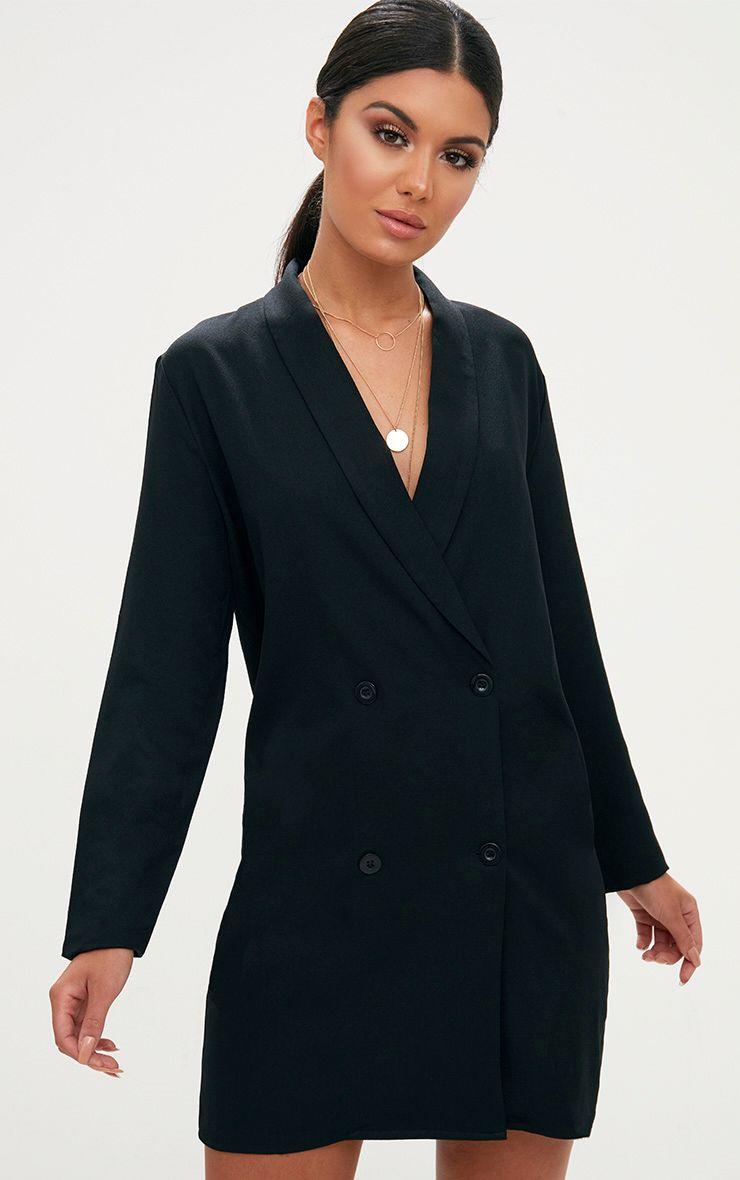Black Oversized Blazer Shift Dress