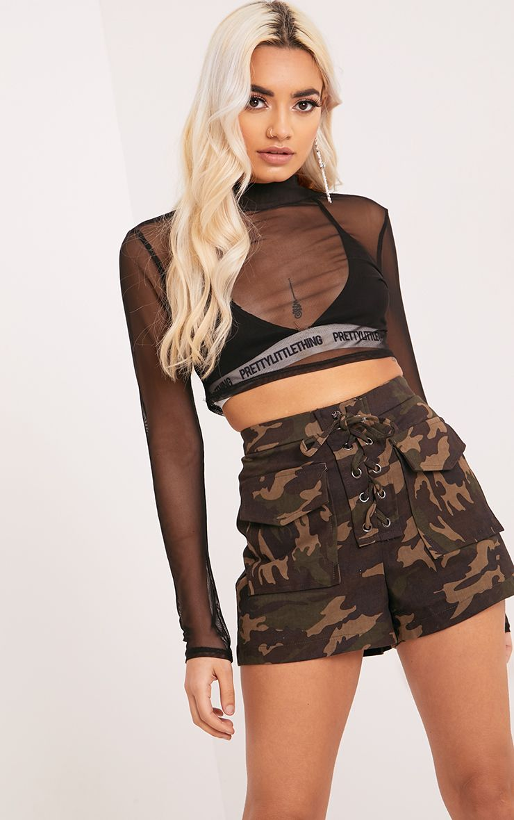 Katelyn Khaki Camo Lace Up Shorts