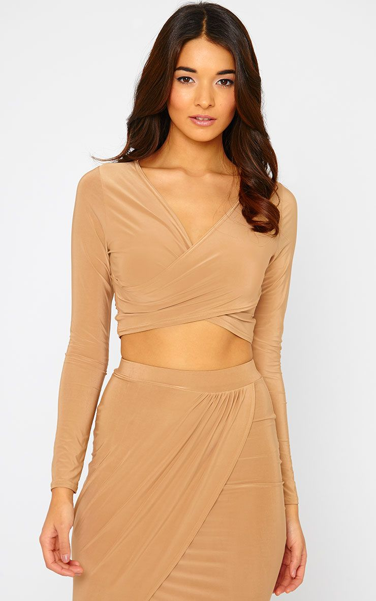 Ginevia Camel Slinky Wrap Front Crop Top  1
