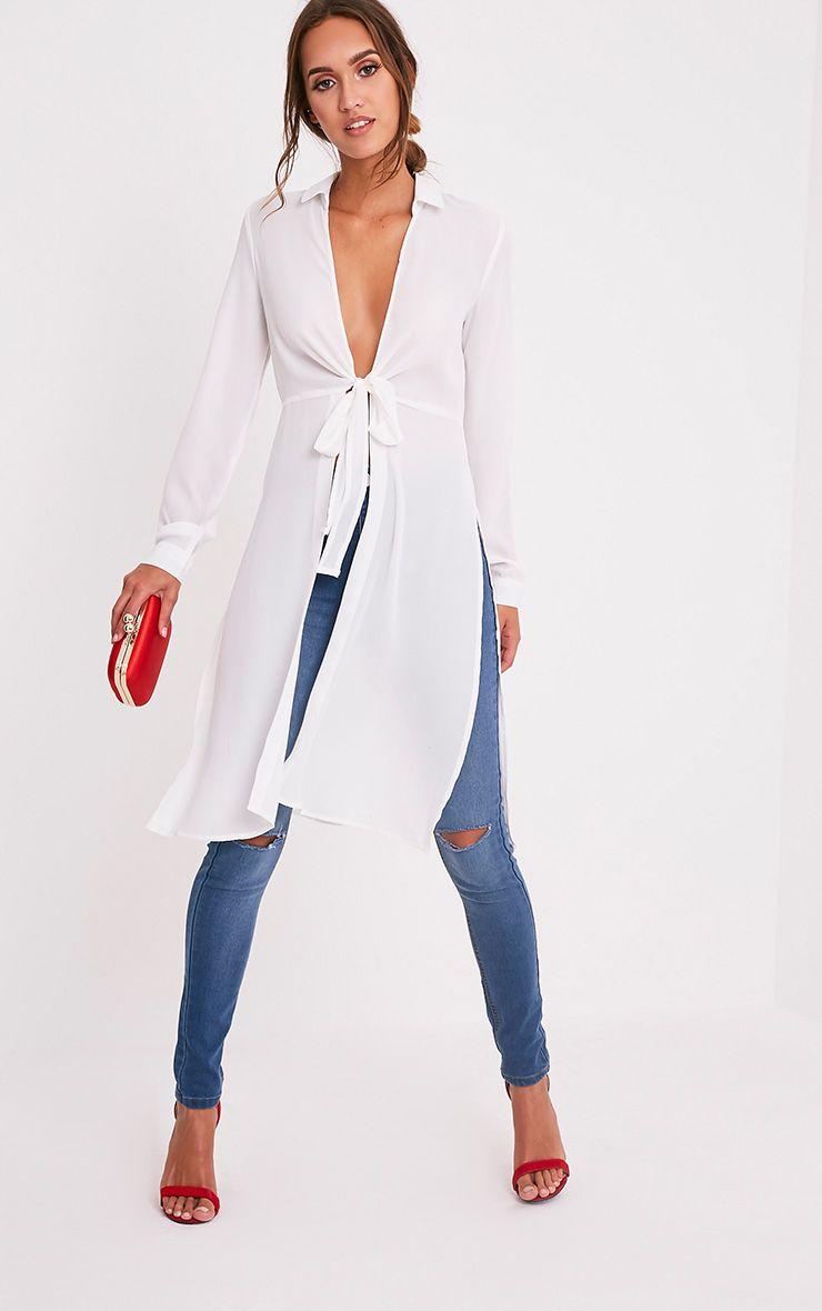 Meredith Cream Tie Waist Longline Blouse