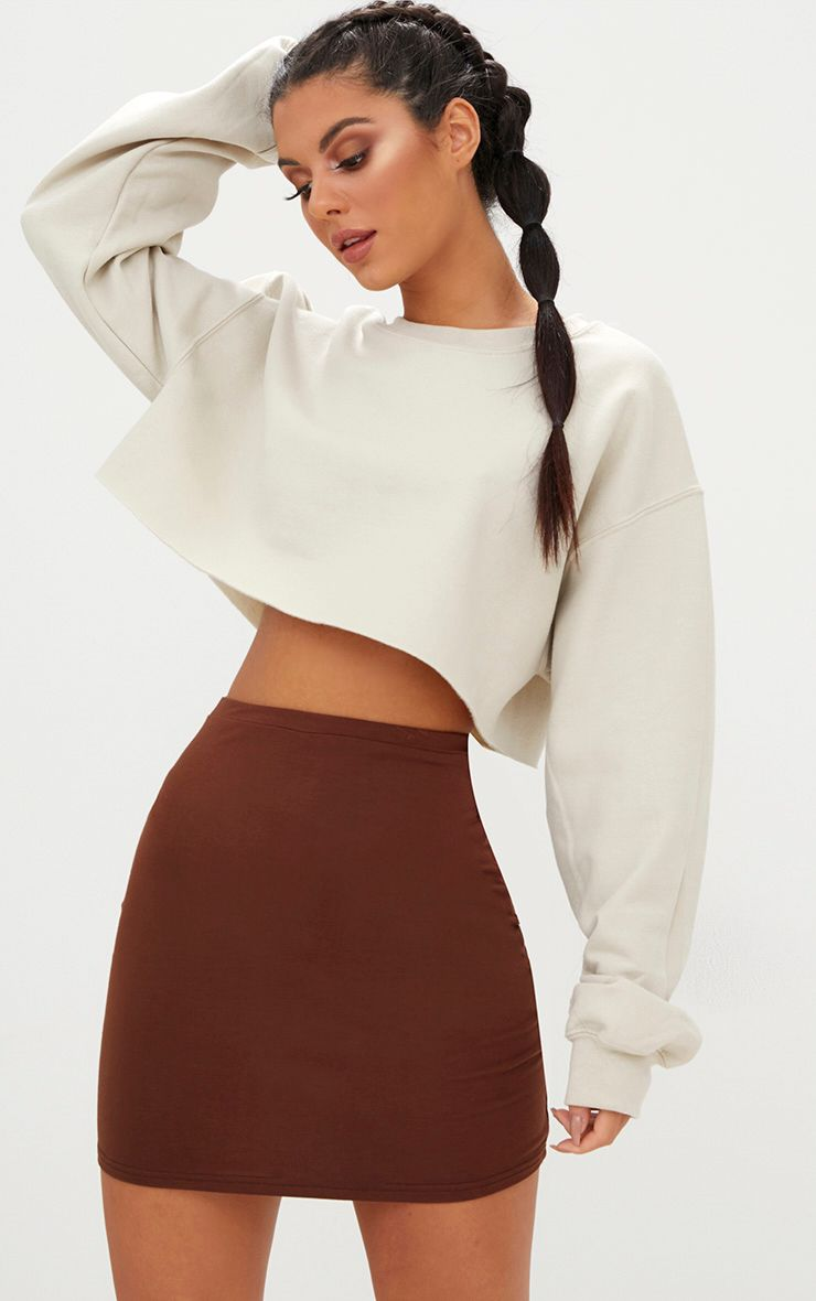 Chocolate Brown Ultimate Jersey Mini Skirt