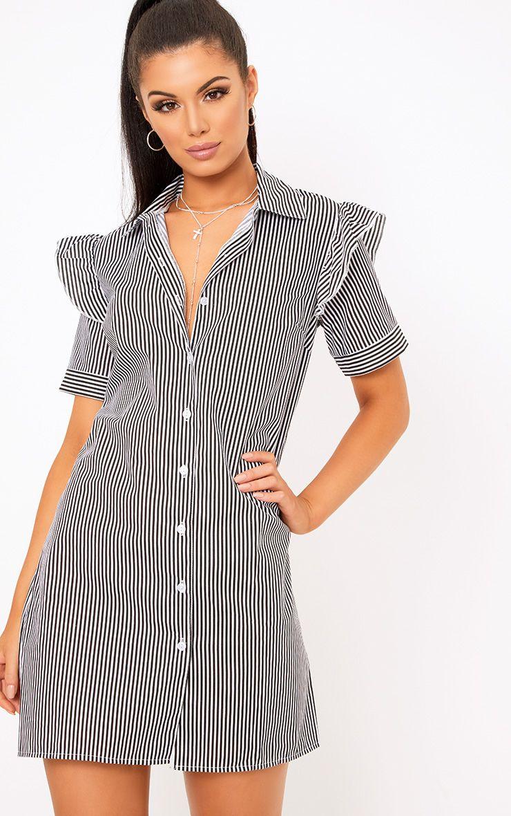 Wendayar Stripes Frill Short Sleeve Shirt Dress Black