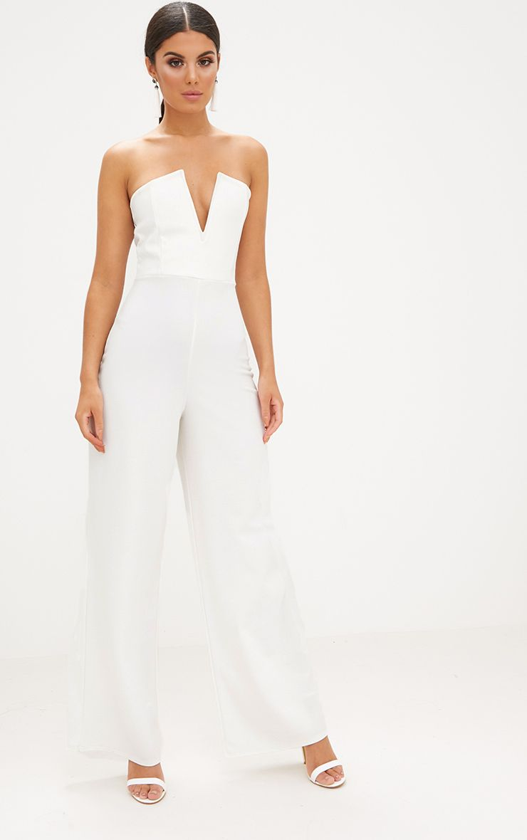 White Crepe V Neck Bandeau Wide Leg Jumpsuit