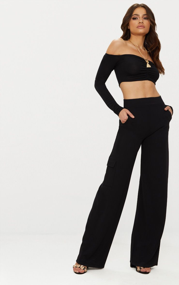 Black Crepe Wide Leg Pocket Trouser