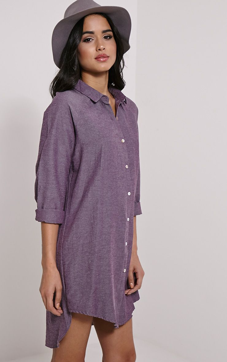 Carina Mauve Oversized Denim Shirt Dress 1
