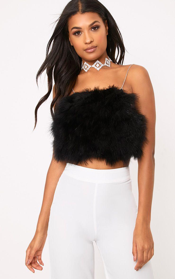 Kara Black Feather Crop Top