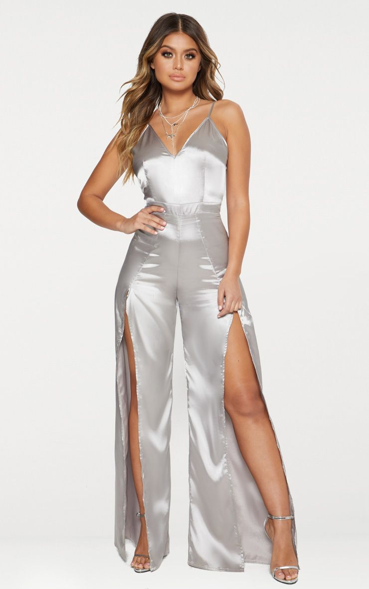 Grey Satin Spit Leg Jumpsuit