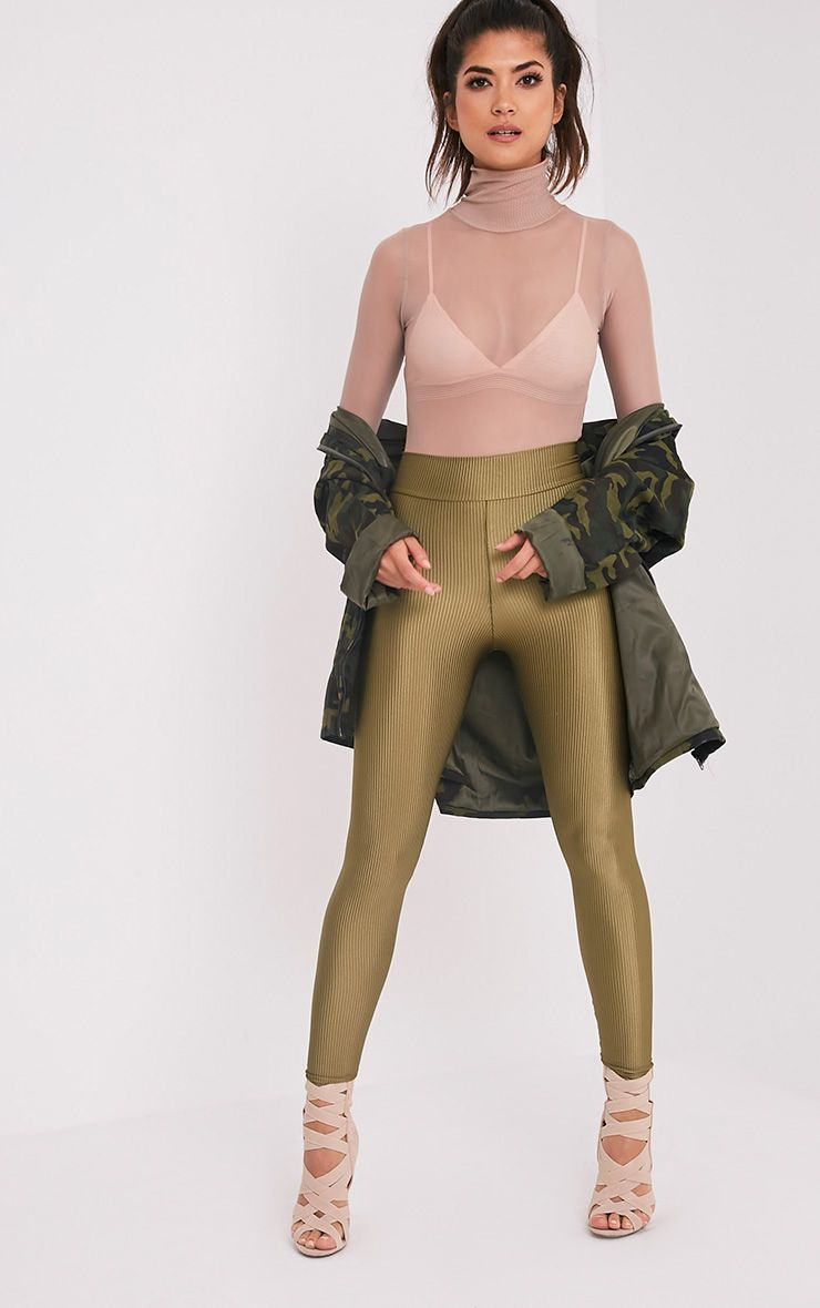 Adella Khaki Metallic Ribbed Leggings 1