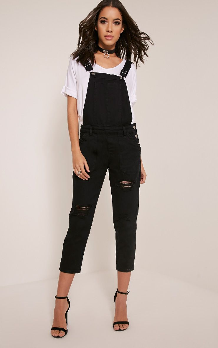 Carla Black Extreme Rip Cropped Denim Dungarees 1