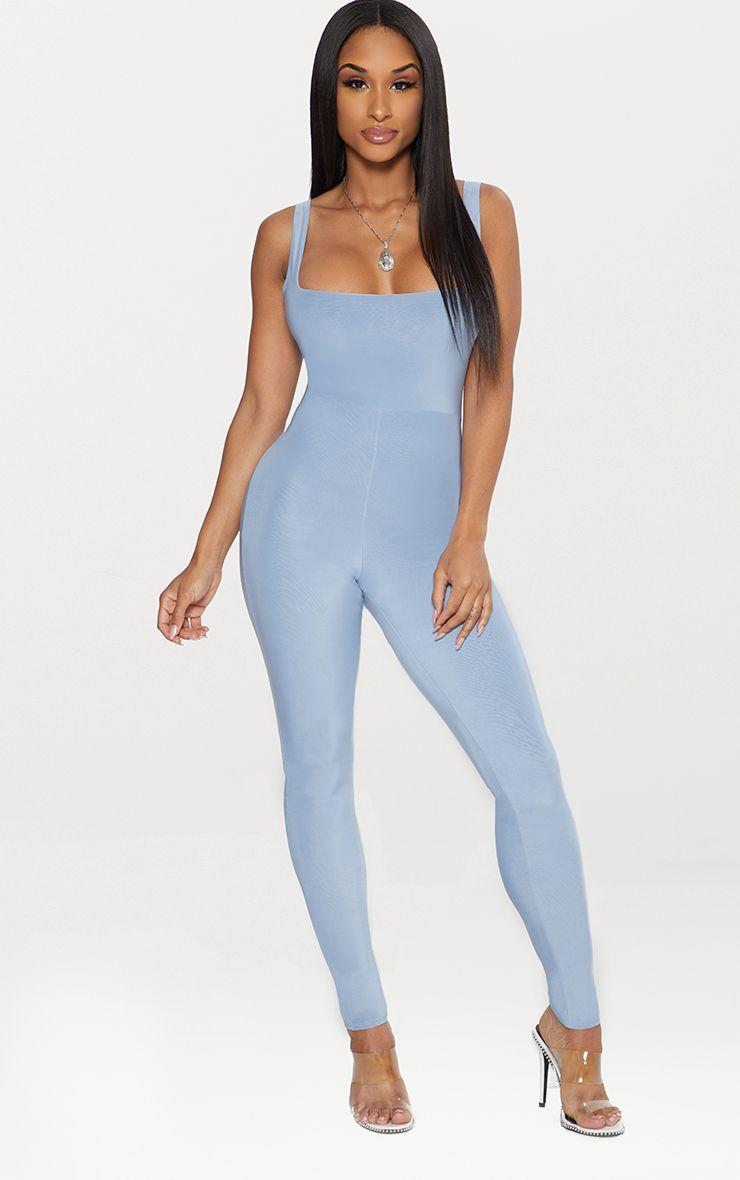Dusky Blue Second Skin Slinky Square Neck Jumpsuit