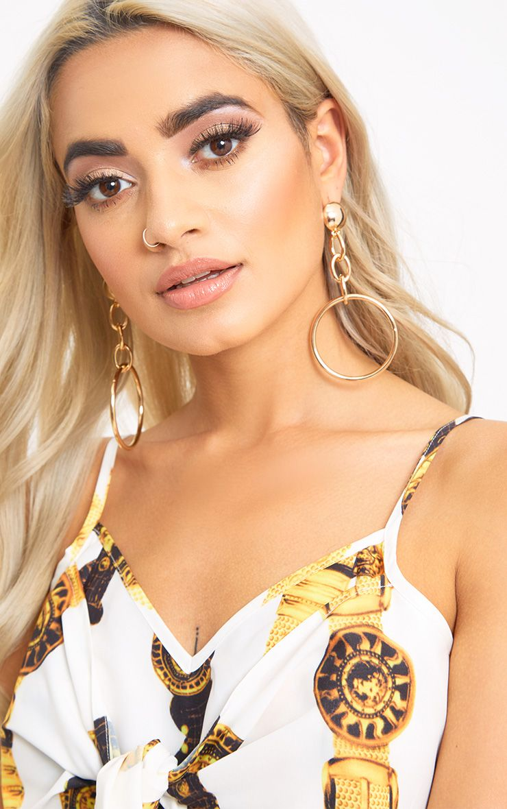 Gold Chain Dangle Hoops