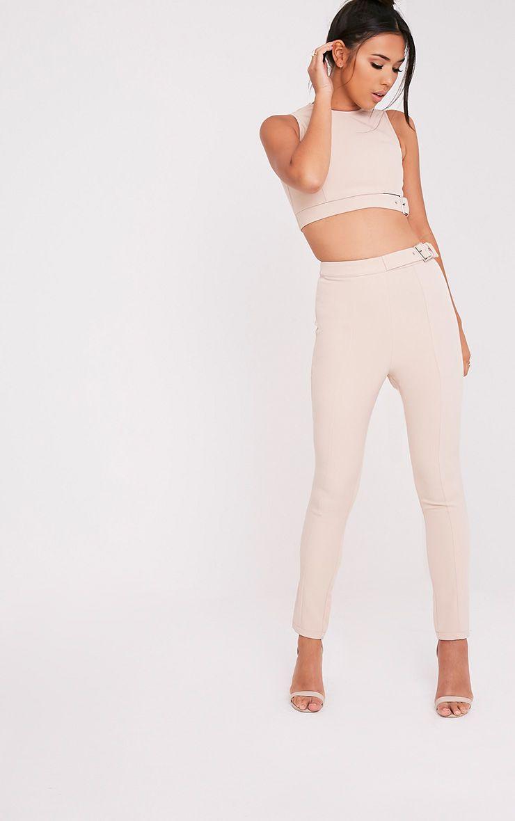 Oria Nude Buckle Side Cigarette Trousers