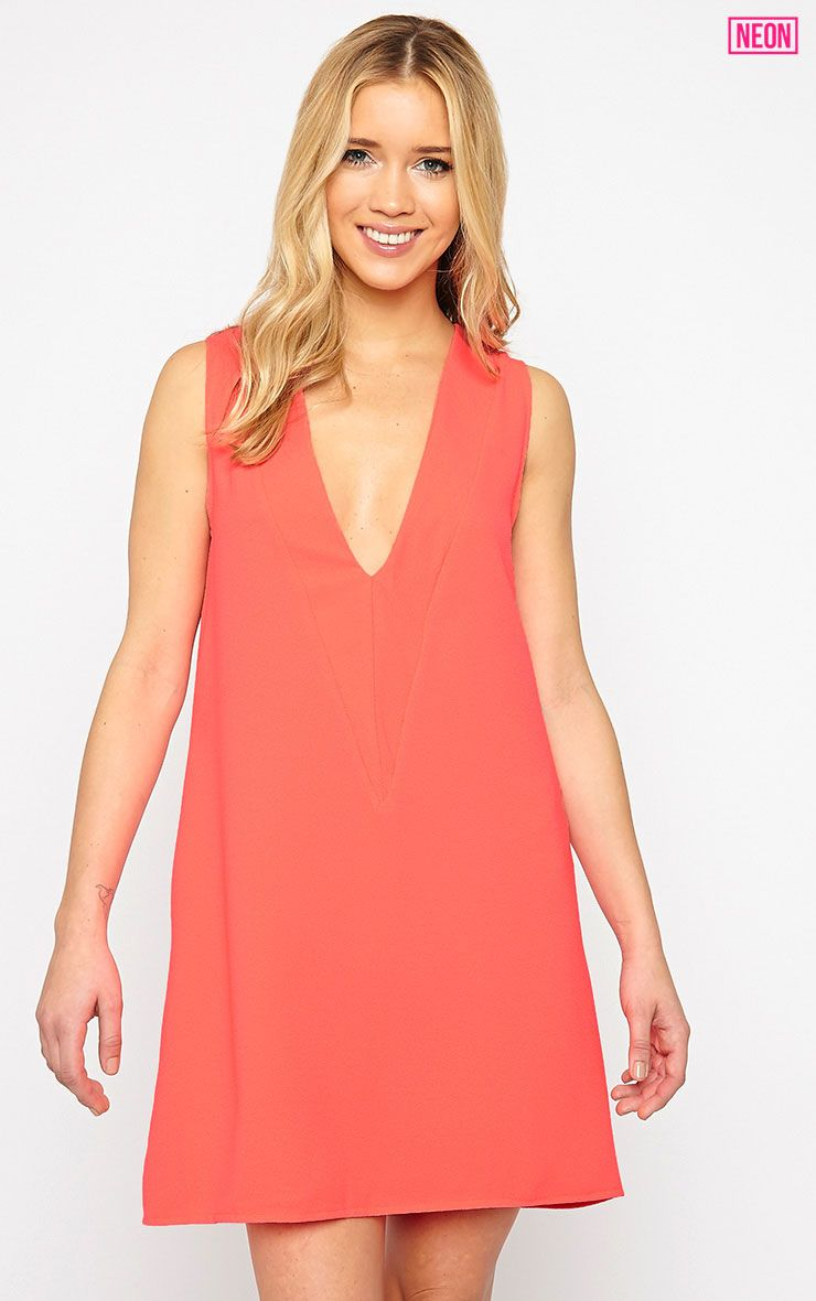 Haelyn Neon Pink Plunge V Shape Loose Fit Binding Dress 1