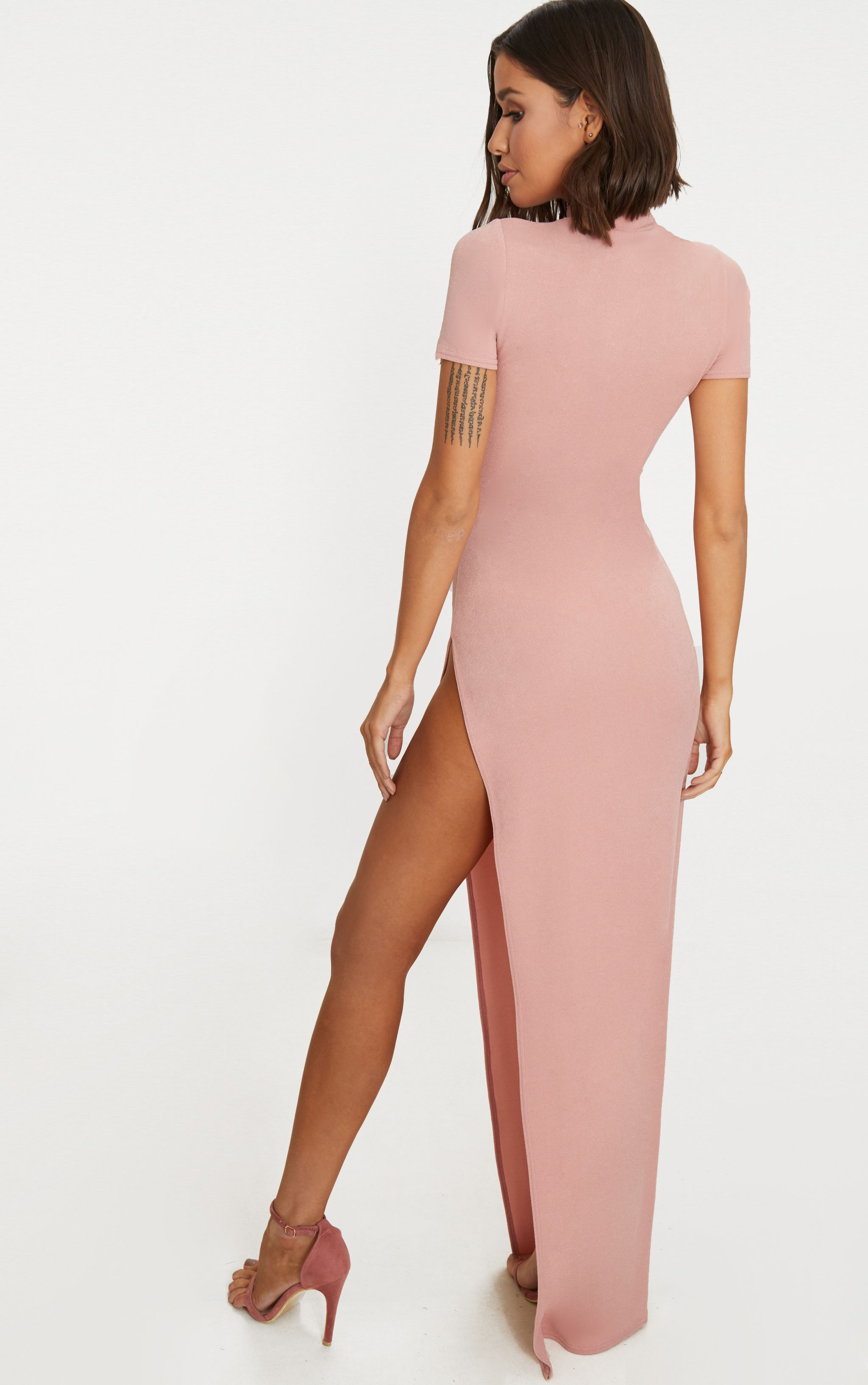 The Cheapest For Sale Dusty Pink Oriental Cut Out Detail Maxi Dress Pretty Little Thing Low Cost 2018 Newest For Sale 5mkAx