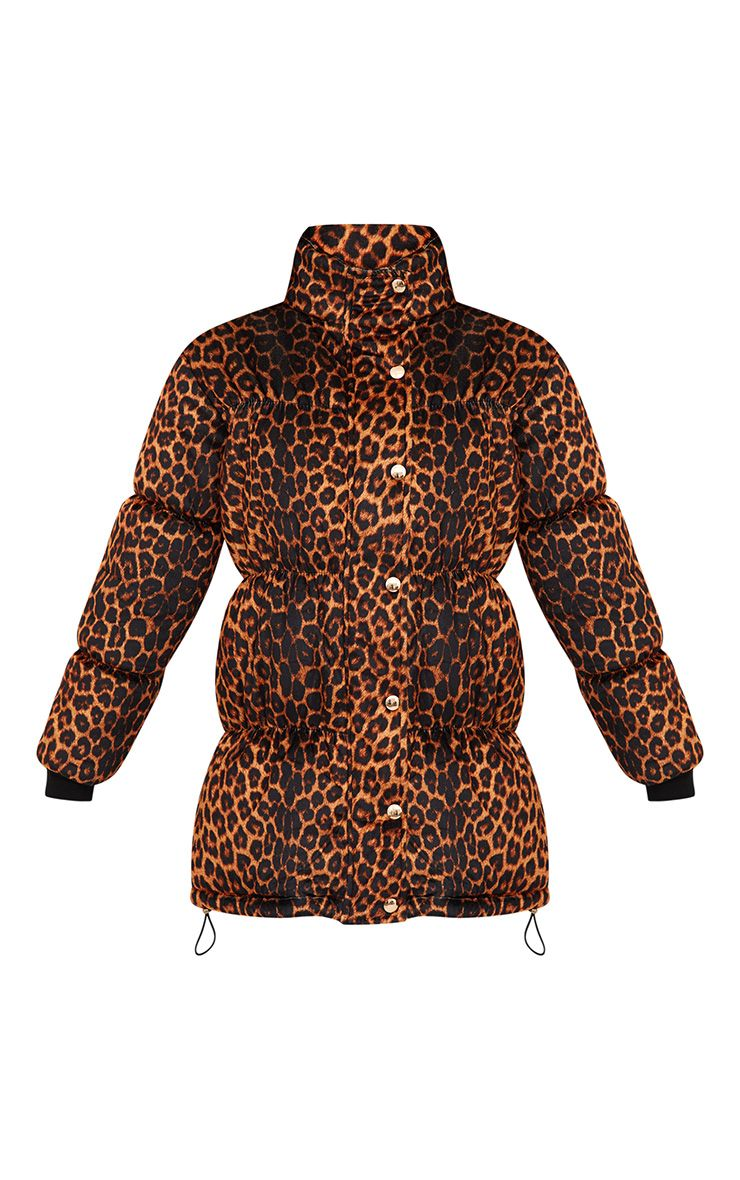 Brown Leopard Velvet Puffer Jacket Coats Amp Jackets