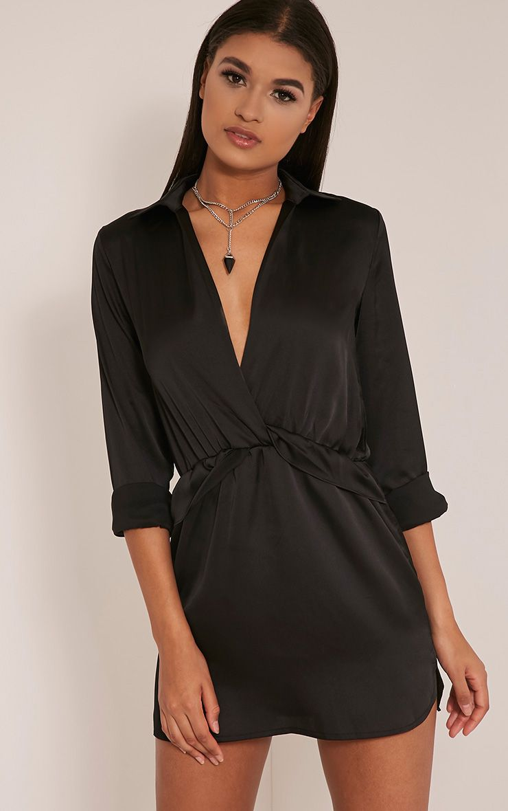 Katalea Black Twist Front Silky Shirt Dress