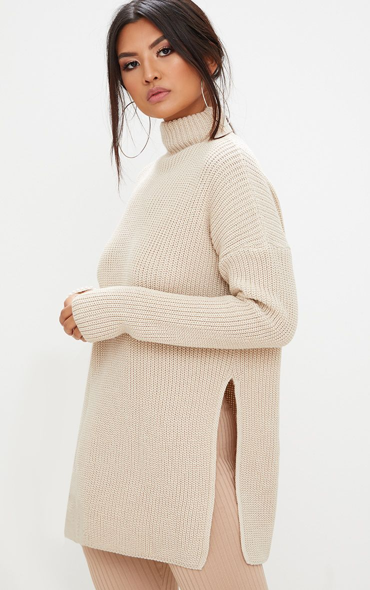 Stone High Neck Oversized Jumper
