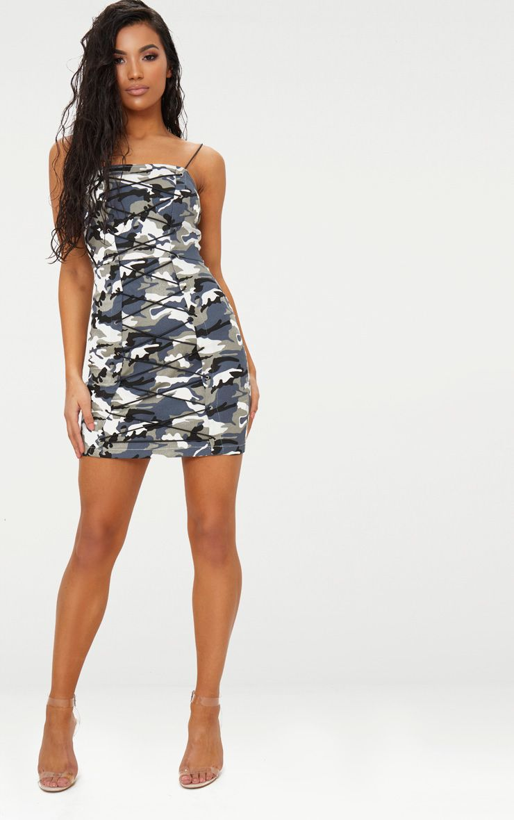 Grey Camouflage Lace Up Bodycon Dress