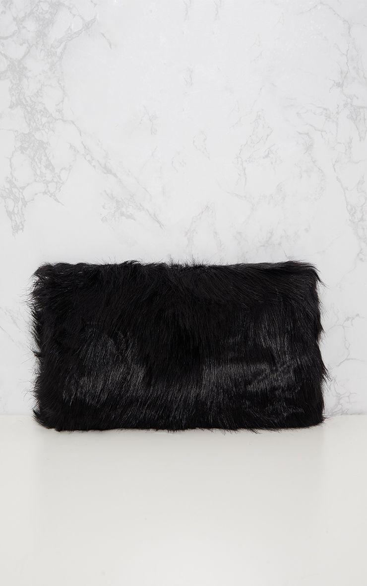 kylah sac pochette en fausse fourrure noir accessoires. Black Bedroom Furniture Sets. Home Design Ideas