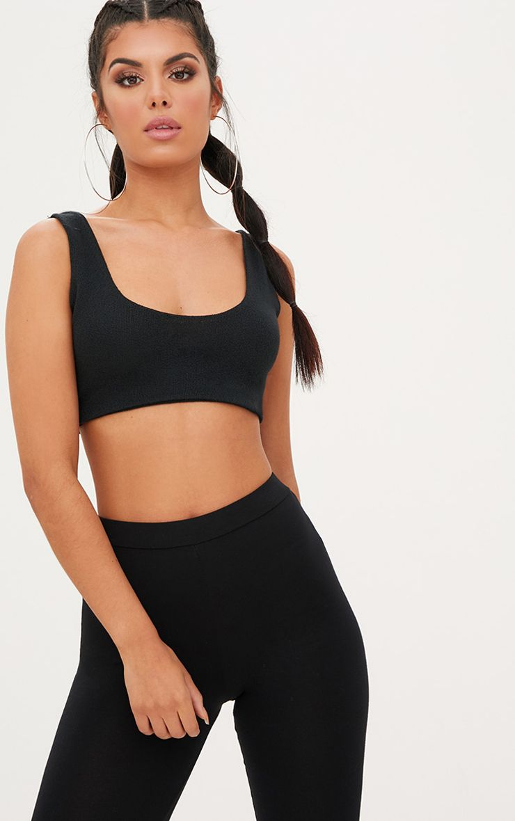 Black Lightweight Knit Bralet Crop Top