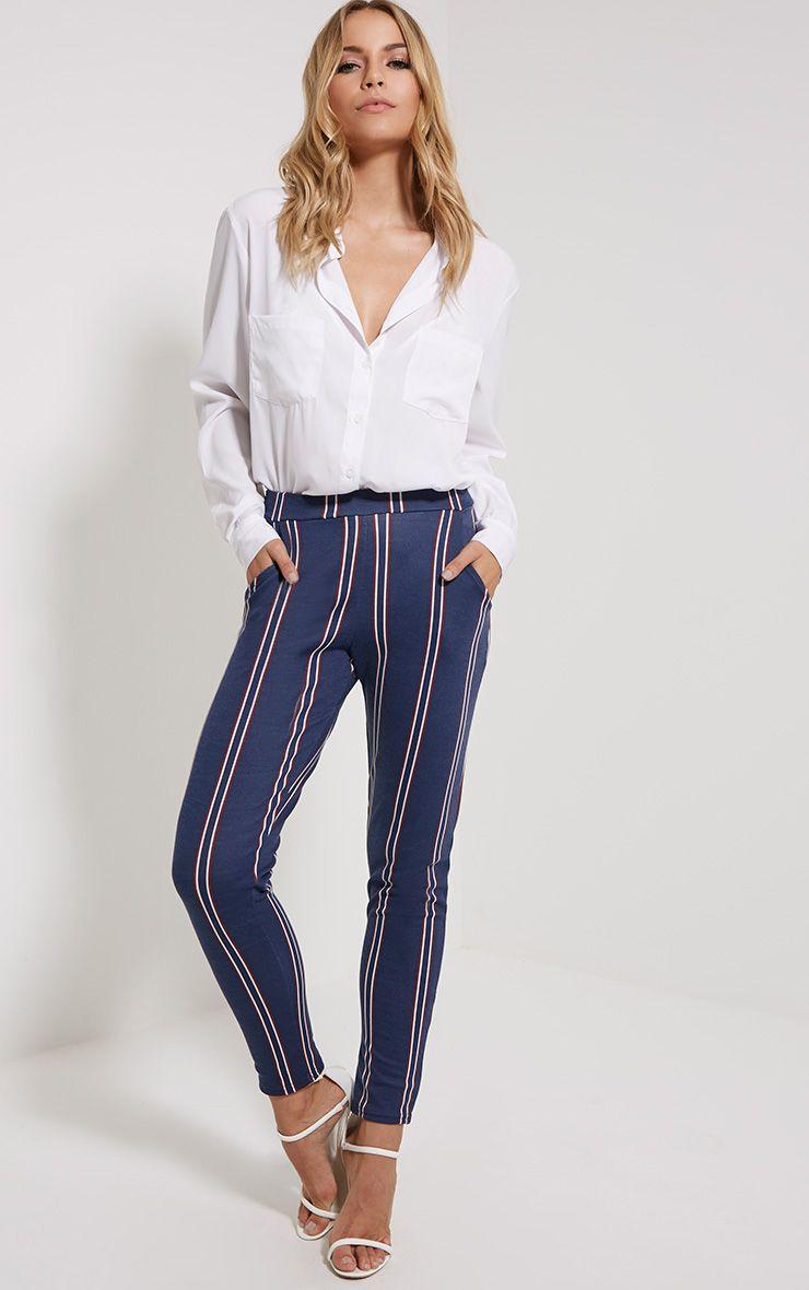 Efren Navy Stripe Trousers 1