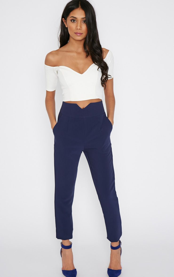 Nia Navy High Waist Tailored Trouser 1