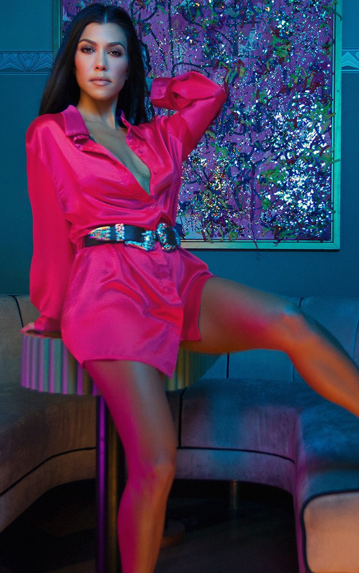 Fuchsia Extreme Oversized Satin Shirt Dress