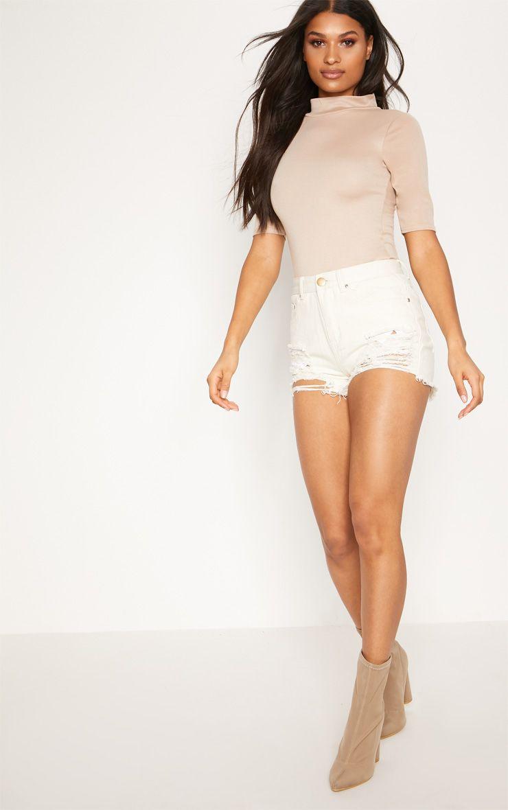 Jeanie Extreme Ripped Mom Denim Shorts