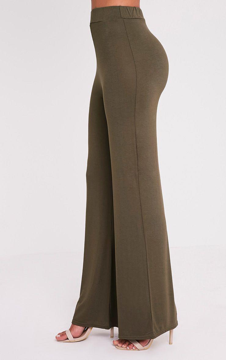 Basic Khaki Jersey Wide Leg Trousers 4