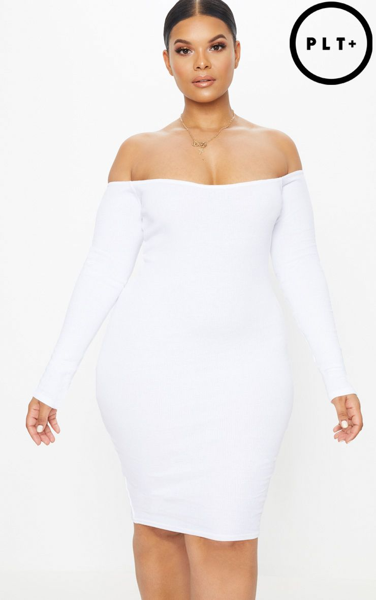 Plus White Second Skin Bardot Ribbed Long Sleeve Midi Dress