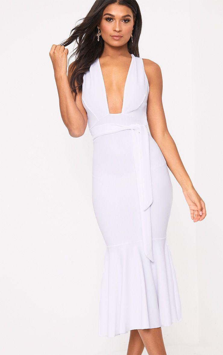 White Plunge Fishtail Midi Dress