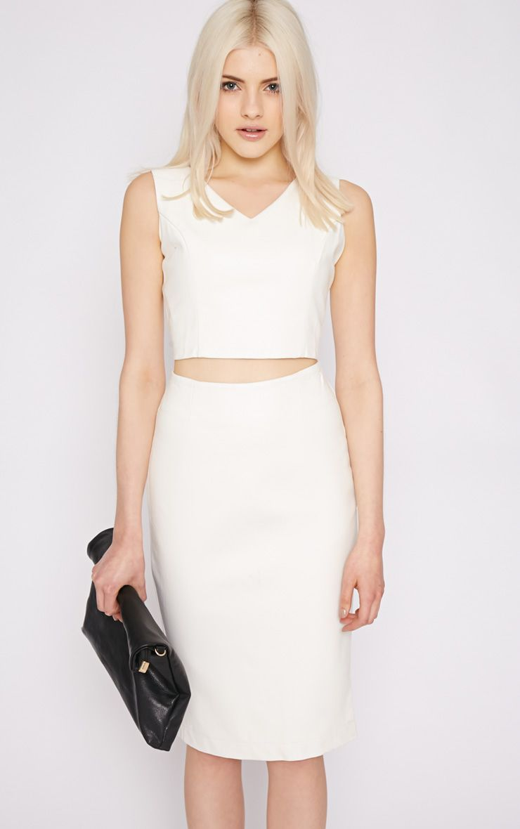 Shary White Leather Crop 1