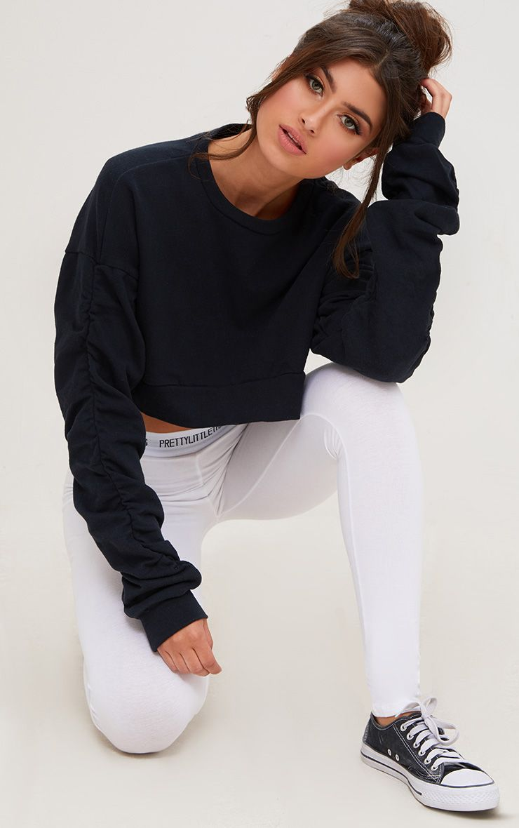 Black Ruched Sleeve Oversized Cropped Sweater