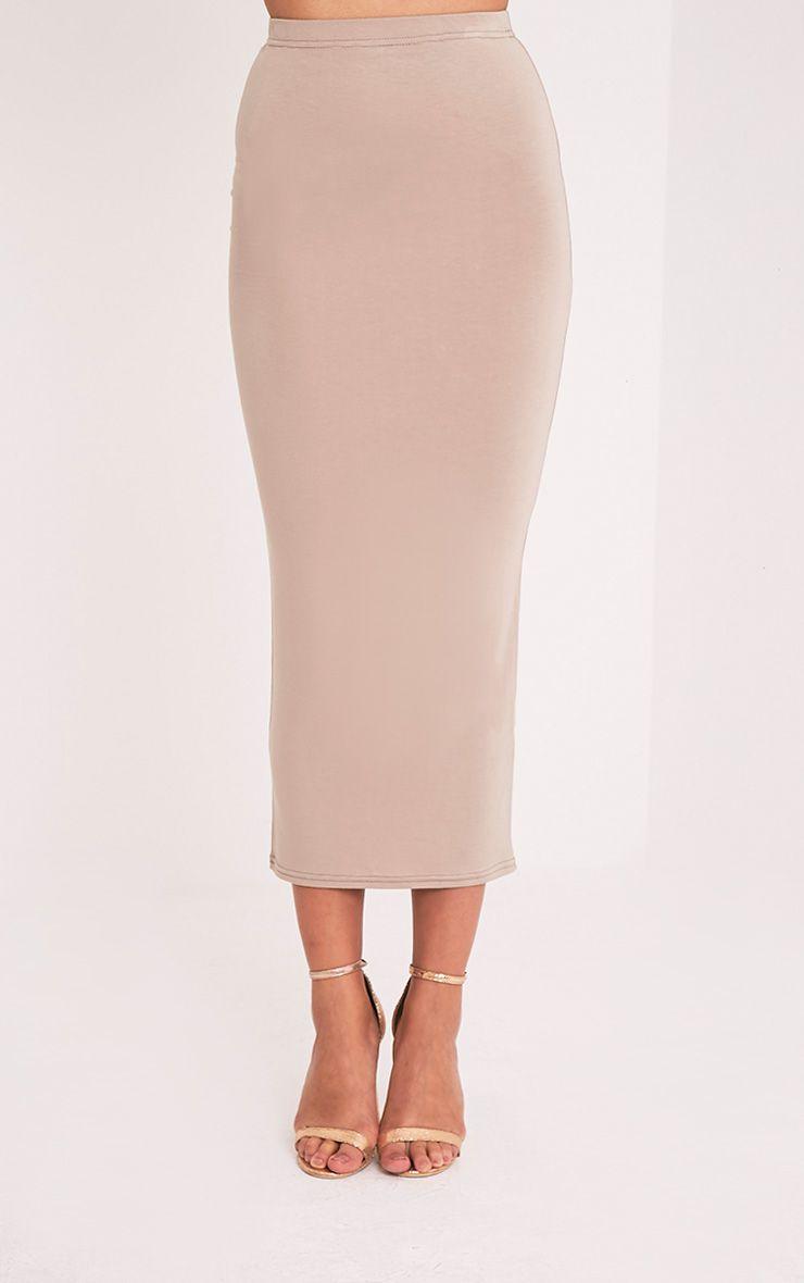 Basic Taupe Midaxi Skirt 1
