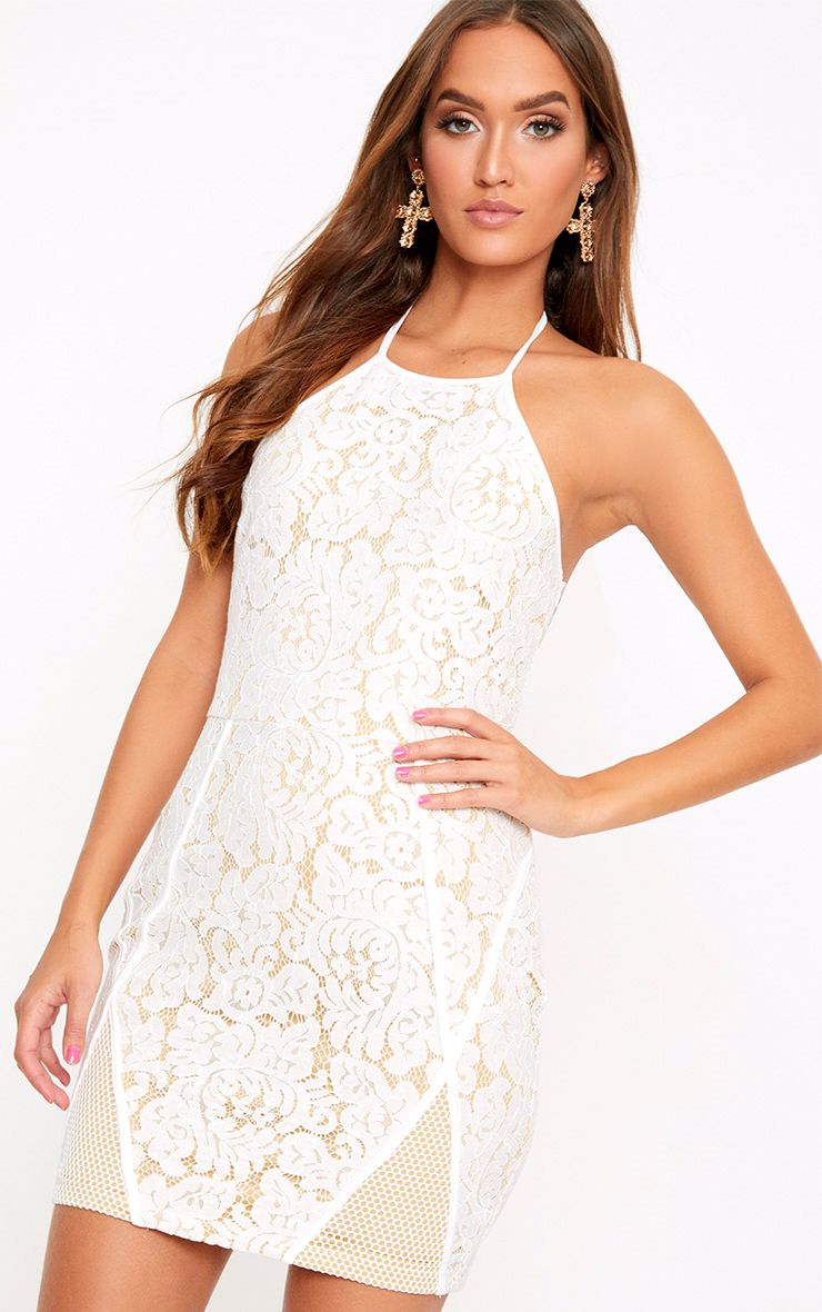 White Lace Fishnet Panel Halterneck Bodycon Dress
