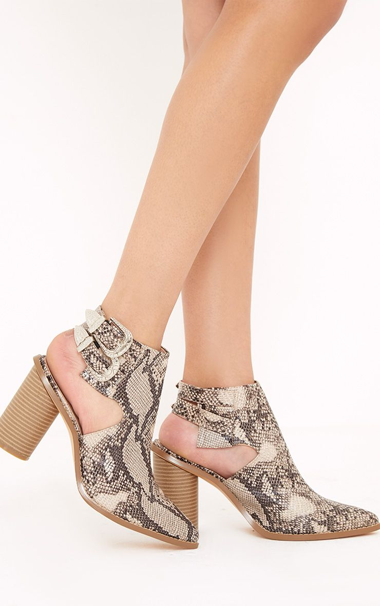 Bernice Taupe Snake Print Open Heel Western Boots