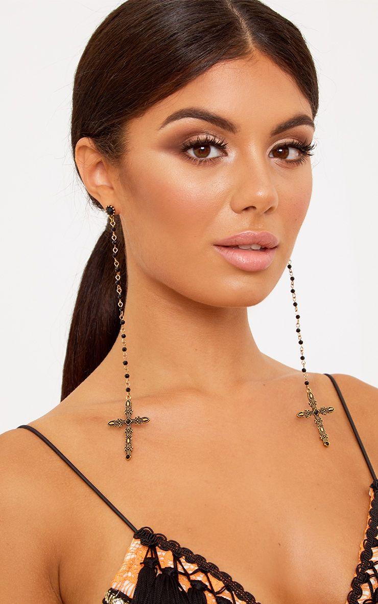 Black Drop Pearl Cross Earrings