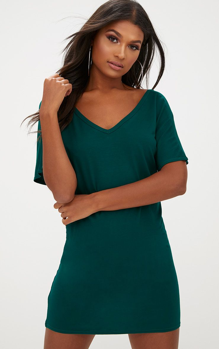 Robe t-shirt basique vert sapin col en V
