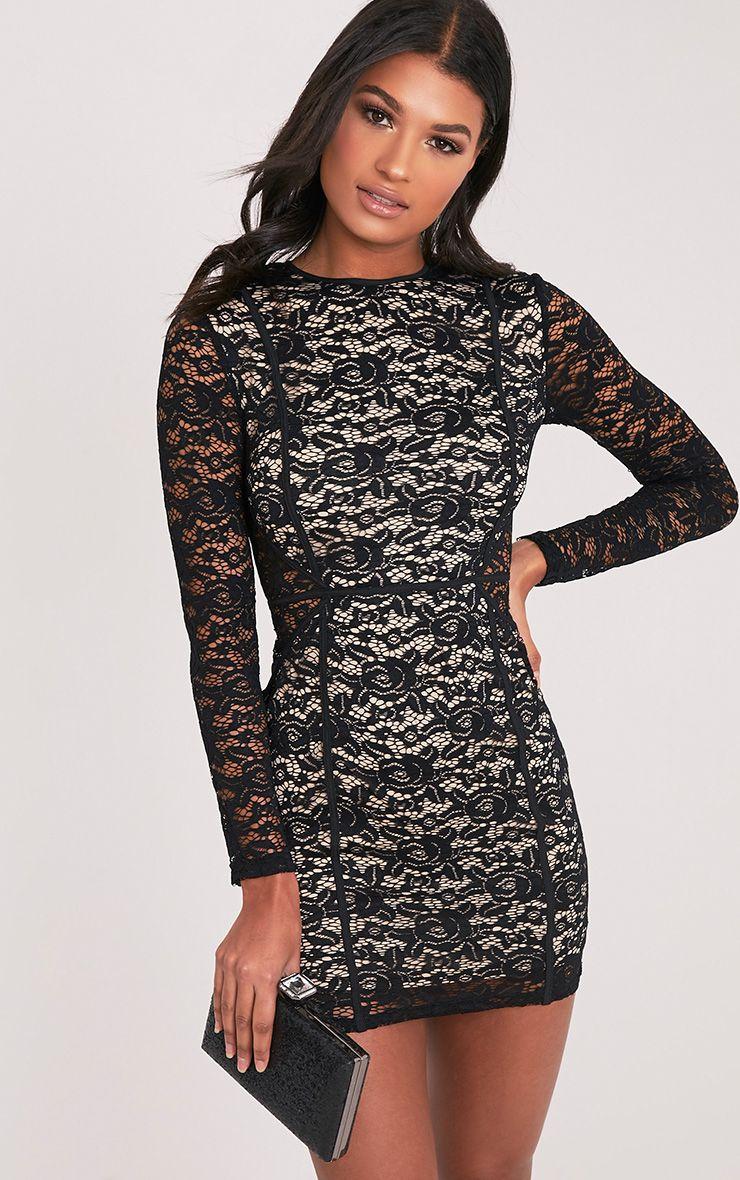 Nadeenia Black Lace Long Sleeve Binded Bodycon Dress